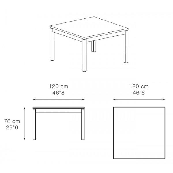 Kvadratna jedilna miza Sabah 120: dimenzije