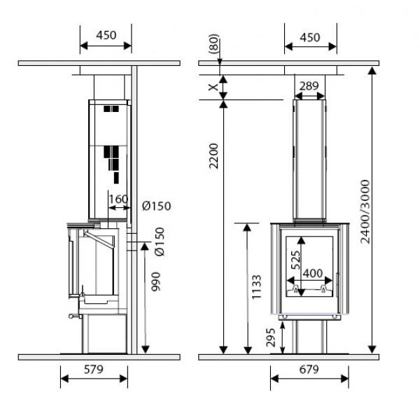 Kamin Supra LOUISIANE 3 - alu (dimenzije so v milimetrih)