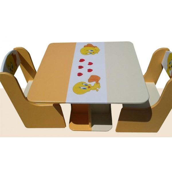 Otroška mizica in stolčka Tweety (oranžno-bež)
