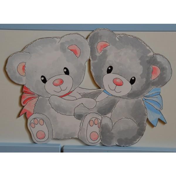 Otroška postelja Medvedek 1: Motiv v roza-modri barvi