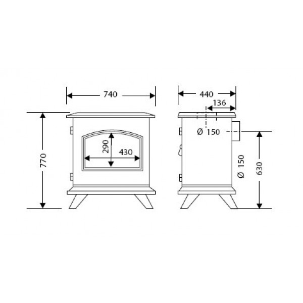 Kamin Supra MULHOUSE (dimenzije so v milimetrih)
