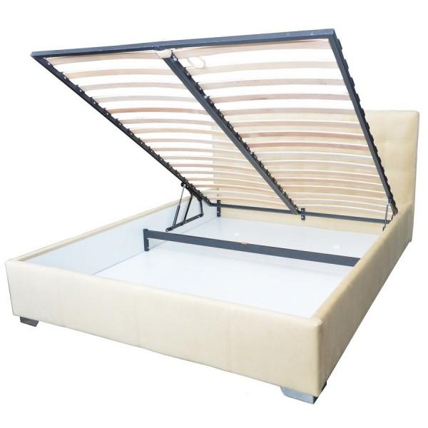 Oblazinjena postelja MANCHESTER z dvižnim mehanizmom - predal za shranjevanje