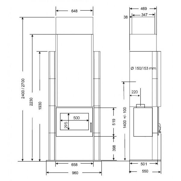 Samostojni kamin Supra ODYSSÉE 2 (dimenzije so v milimetrih)