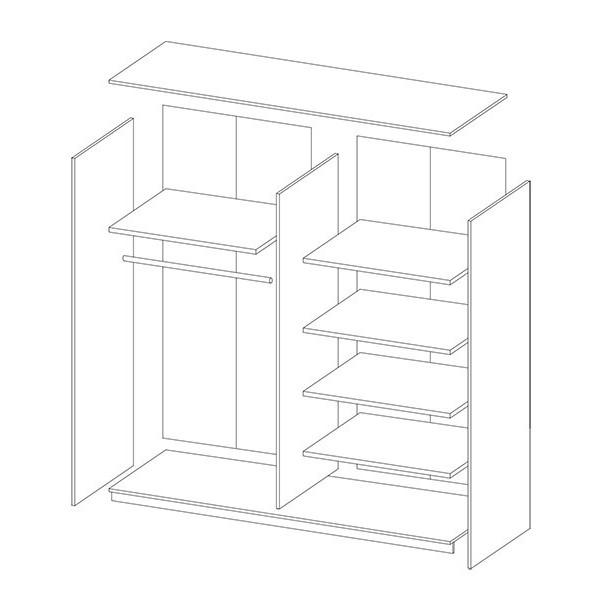 Garderobna omara z drsnimi vrati in ogledalom Beta (bela) - notranjost