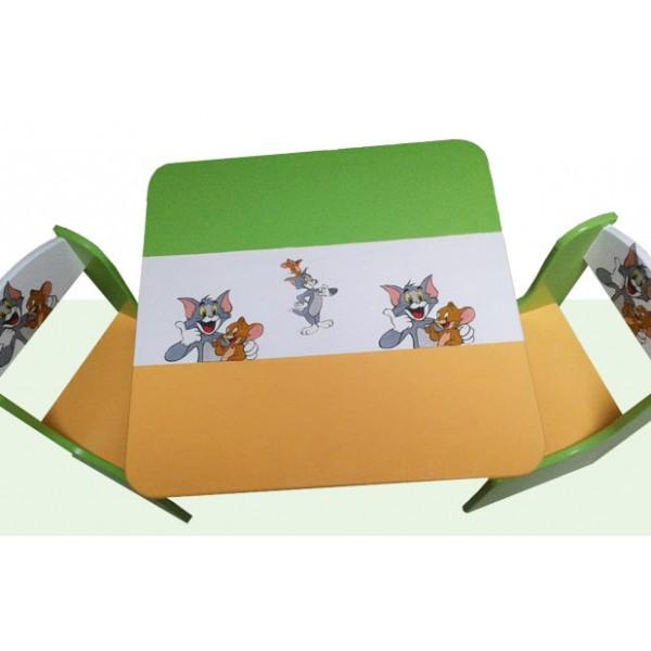 Otroška mizica in stolčka Tom in Jerry (oranžno-zelena)