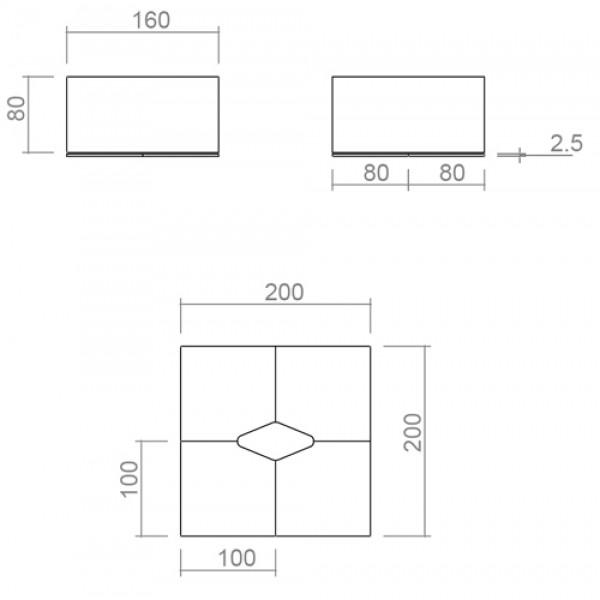 Pisarniški komplet miz TK04 - dimenzije