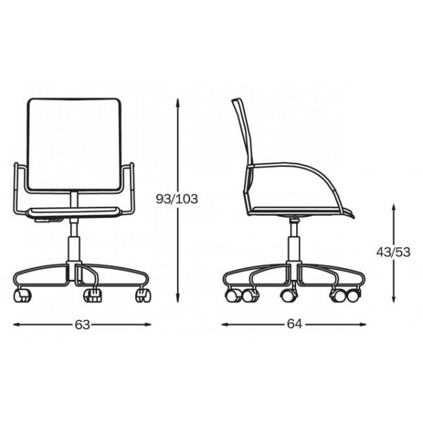 Pisarniški stol Eureka: dimenzije