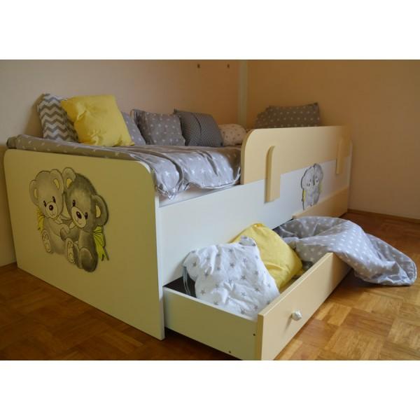 Otroška postelja Medvedek 2: bež barva, dodatek predalnik - simbolična slika