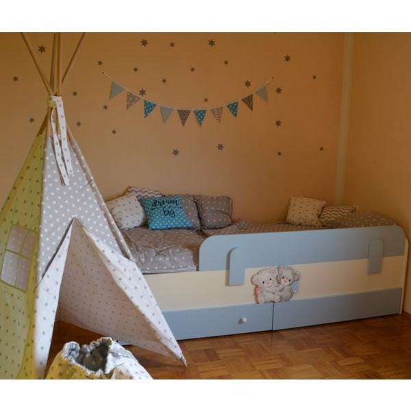 Otroška postelja Medvedek 2: modra barva, dodatek predalnik - simbolična slika
