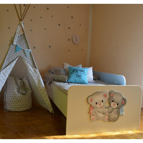 Otroška postelja Medvedek 2: modra barva, motiv na vznožni stranici