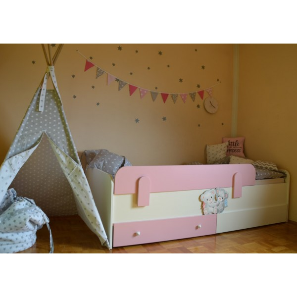 Otroška postelja Medvedek 2: roza barva, dodatek predalnik - simbolična slika