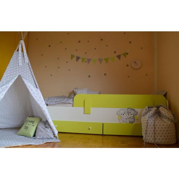 Otroška postelja Medvedek 2: zelena barva, dodatek predalnik - simbolična slika