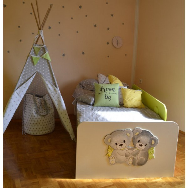 Otroška postelja Medvedek 2: zelena barva, motiv na vznožni stranici