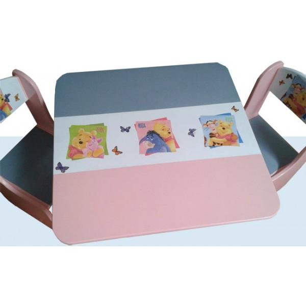 Otroška mizica in stolčka Medvedek Pu (sivo-roza)