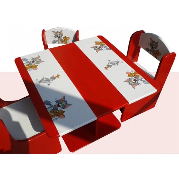Otroška mizica in stolčka Tom in Jerry (belo-rdeča)