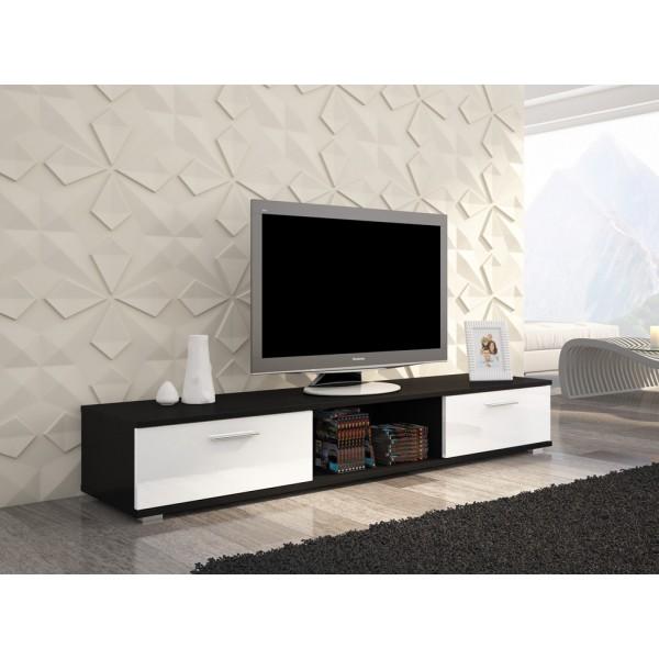 TV regal SELLA (črna/bela, visoki sijaj)
