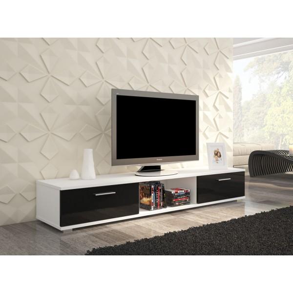 TV regal SELLA (bela/črna, visoki sijaj)