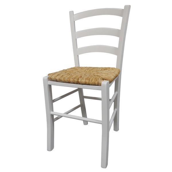 Stol Paesana: pleteno sedišče - bela
