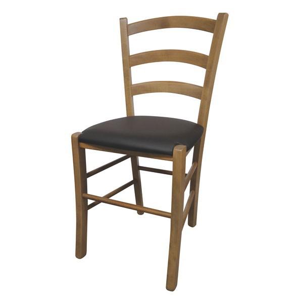 Stol Paesana: oblazinjeno sedišče - hrast / rjava