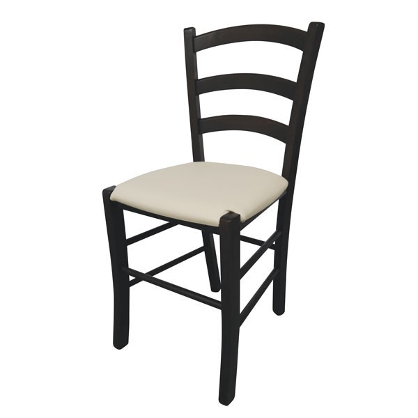Stol Paesana: oblazinjeno sedišče - wenge / bež