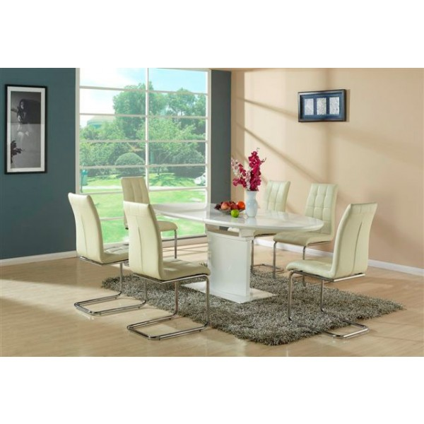 Stol za jedilnico Kaity bež barve z mizo Fedorico