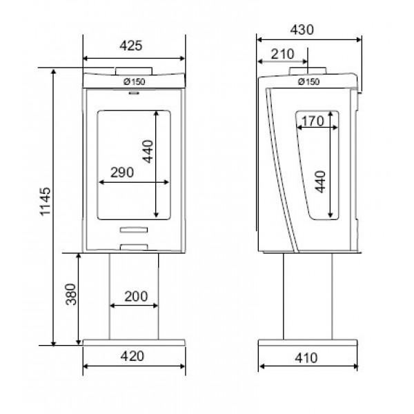 Kaminska peč Supra TRIVIK (dimenzije so v milimetrih)