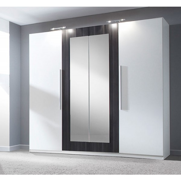 Garderobna omara VERA (bela-črn oreh)
