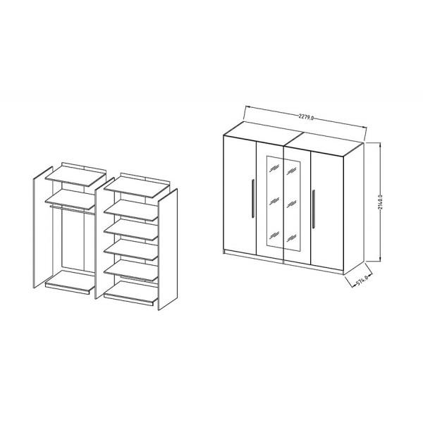 Garderobna omara VERA - dimenzije