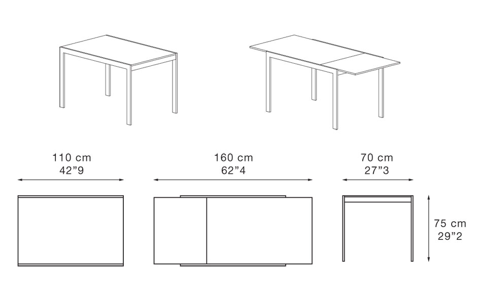 Dimenzije jedilne mize Dado 110