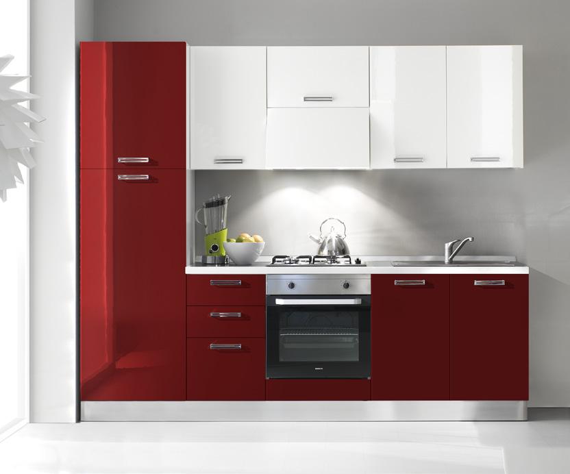 Komplet kuhinja 2106s - Cucina bianca e rossa ...