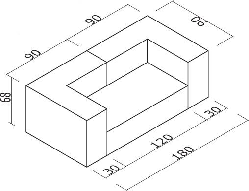 Sedežna garnitura Trentapertrenta C14: dimenzije