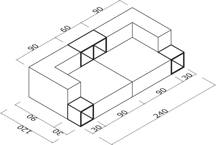Sedežna garnitura Trentapertrenta C6: dimenzije