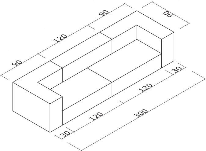 Sedežna garnitura Trentapertrenta C7: dimenzije