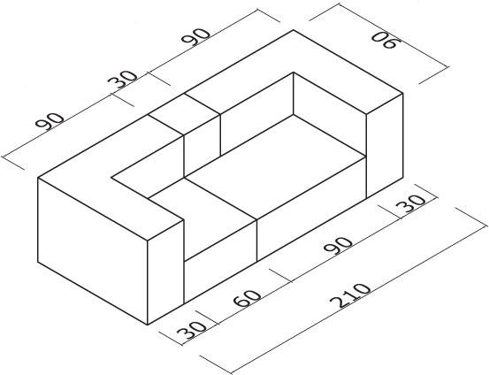 Sedežna garnitura Trentapertrenta D210: dimenzije